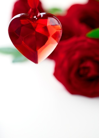 Valentine heart and red roses photo