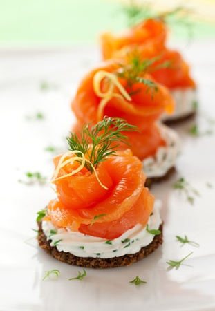 topped: Canapes with smoked salmon and cream cheese