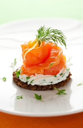 Canapes with smoked salmon and cream cheese photo