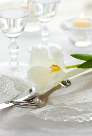 dinning table: Festive place-setting with white tulip and napkin Stock Photo