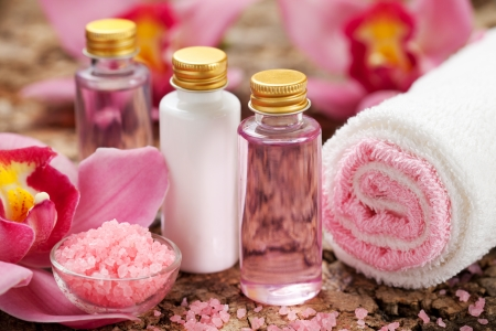 toiletries: body care products or spa still life