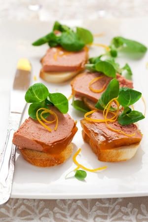 Chicken liver pate with orange jelly for holiday photo