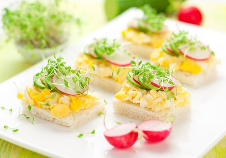 canape with egg, cucumber, radishes and cress for Easter