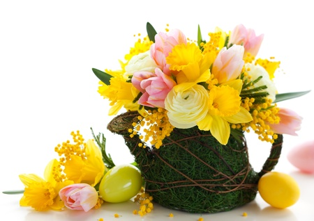 spring flowers and  easter eggs for holiday photo
