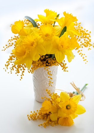 mimosa: bouquet of  yellow narcissus and mimosa Stock Photo