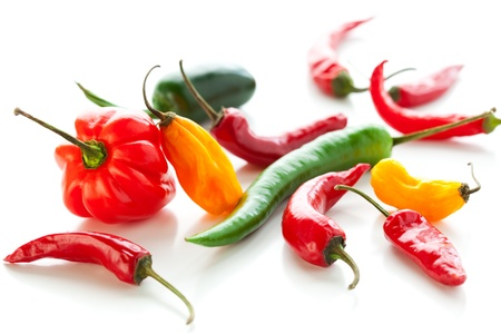 red jalapeno: mix of fresh  colorful hot chili peppers