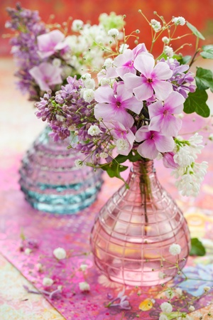 vertical composition: beautiful spring flowers in a vase Stock Photo