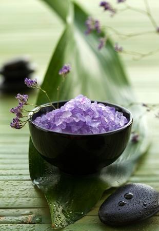 Lavender Spa Salt in a bowl photo