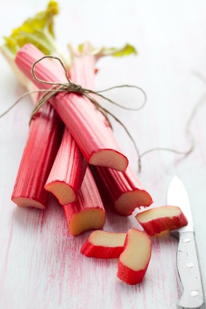 rhubarb: Bunch of fresh  rhubarb