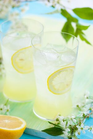 cold fresh lemonade with ice photo