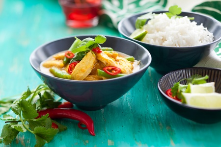 Chicken curry with green beans  and rice photo