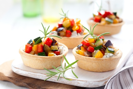 tartlet: Tartlets with roasted vegetables Stock Photo