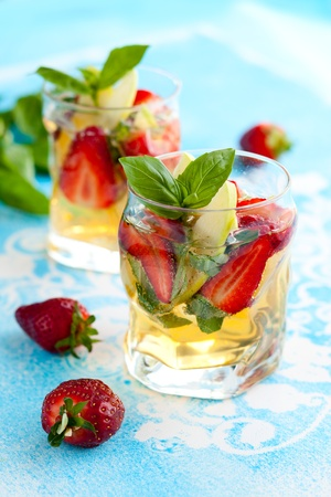 Strawberry,Apple and  Basil Sangria photo