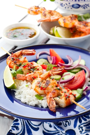 Prawn skewers with rice and vegetable salad Stock Photo - 13509247
