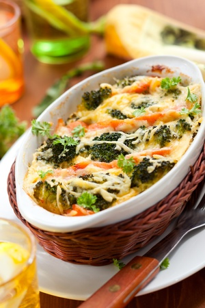fresh baked: broccoli and salmon  gratin with cheese
