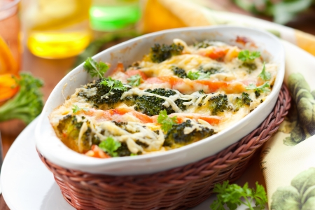 casserole dish: broccoli and salmon  gratin with cheese