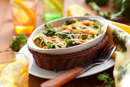 casserole: broccoli and salmon  gratin with cheese