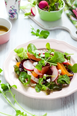 rocket lettuce: Salad with beetroot, oranges,grapefruit,radish,feta cheese and fennel