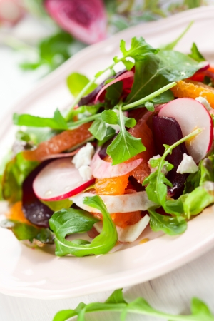 beet: Salad with beetroot, oranges,grapefruit,radish,feta cheese and fennel