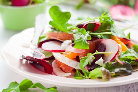 beets: Salad with beetroot, oranges,grapefruit,radish,feta cheese and fennel