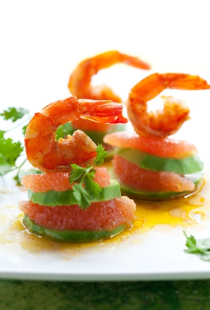 appetizer with shrimp,grapefruit and avocado photo