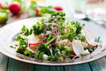 green salad: Broccoli,radish and feta salad with quinoa Stock Photo