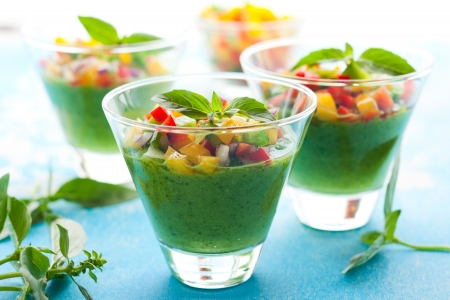 cold soup: Green Gazpacho soup in glasses