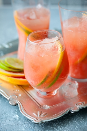 Pink grapefruit drinks  with crushed ice photo