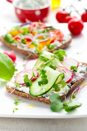 wholemeal: Wholemeal sandwiches with fresh vegetables Stock Photo