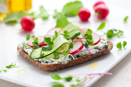 Wholemeal sandwiches with fresh vegetables photo