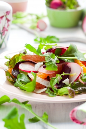 Salad with beetroot, oranges,grapefruit,radish,feta cheese and fennel