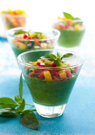 gazpacho: Green Gazpacho soup in glasses