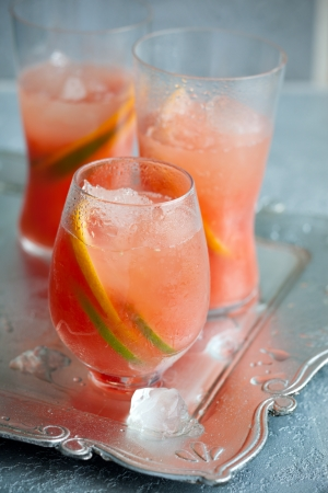 crushed ice: Pink grapefruit drinks  with crushed ice