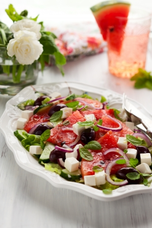 Watermelon Salad with Feta, Cucumber, Olive and Mint photo