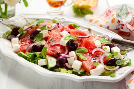 feta cheese: Watermelon Salad with Feta, Cucumber, Olive  and Mint
