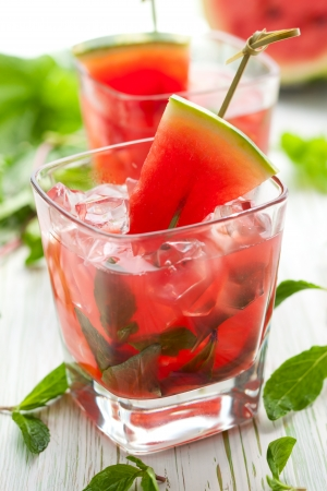 liquid summer: Watermelon Mojito with Watermelon Garnish Stock Photo