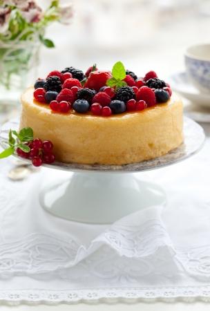 케이크: 혼합 된 딸기 치즈 케이크 스톡 사진