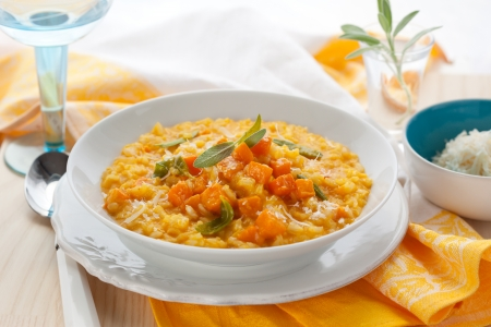 risotto: pumpkin risotto with sage