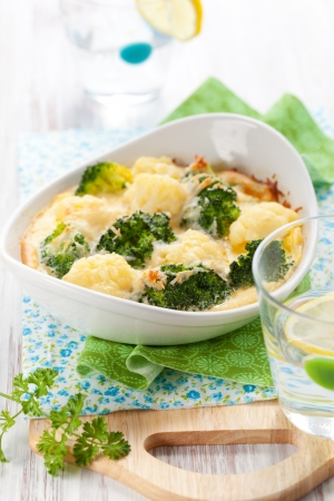 broccoli and cauliflower gratin with cheese photo