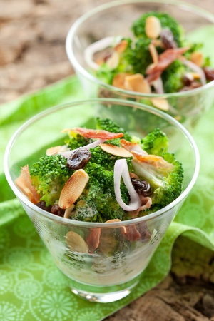 broccoli salad: broccoli salad with almond,raisins,onion and bacon