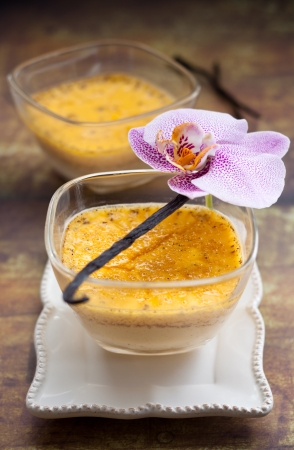 flan: Vanilla flan with eggs and milk