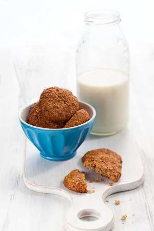 oatmeal  cookies and milk photo