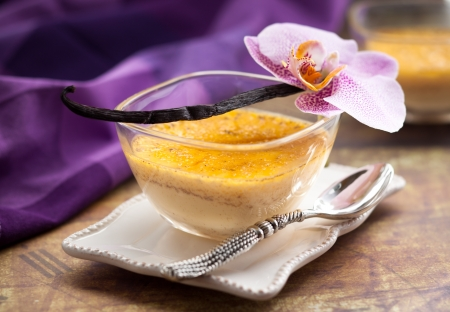 Vanilla flan with eggs and milk photo