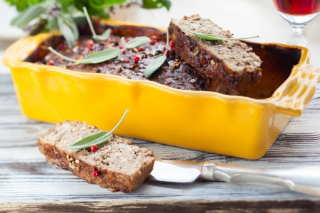 country pate with meat and liver photo