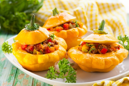 Pattypan squash stufeed with vegetables and meat photo