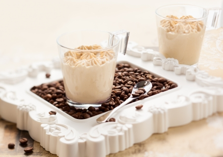 mousse: Coffee mousse in two cups Stock Photo