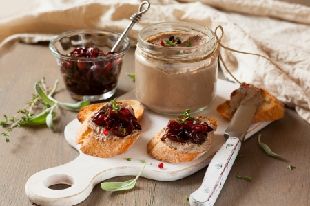 Chicken liver pate with onion jam on bread and in jar Stock Photo - 15152825