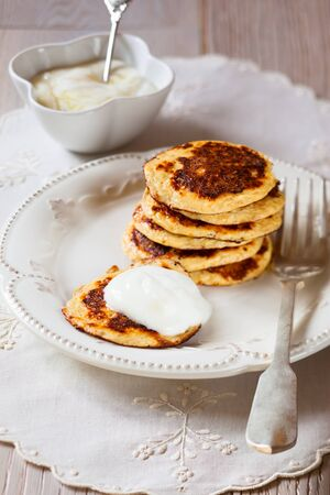 bran: Oat Bran Pancake with yogurt Stock Photo