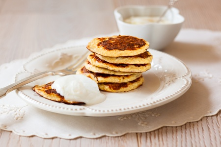Oat Bran Pancake with yogurt Stock Photo