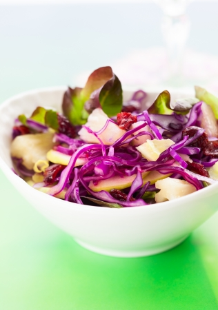 Red cabbage salad with apple,pineapple,dried cranberries and almonds photo